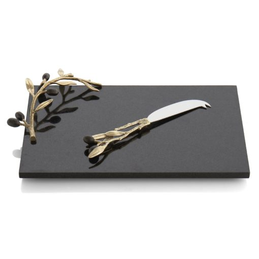 MICHAEL ARAM OLIVE BRANCH GOLD CHEESEBOARD W KNIFE - Carats Jewelry and Gifts