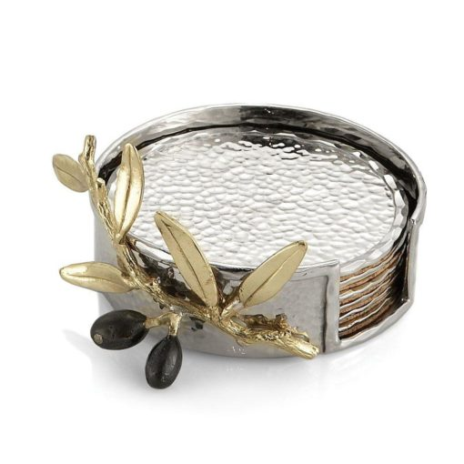 MICHAEL ARAM OLIVE BRANCH GOLD COASTER S/6 - Carats Jewelry and Gifts